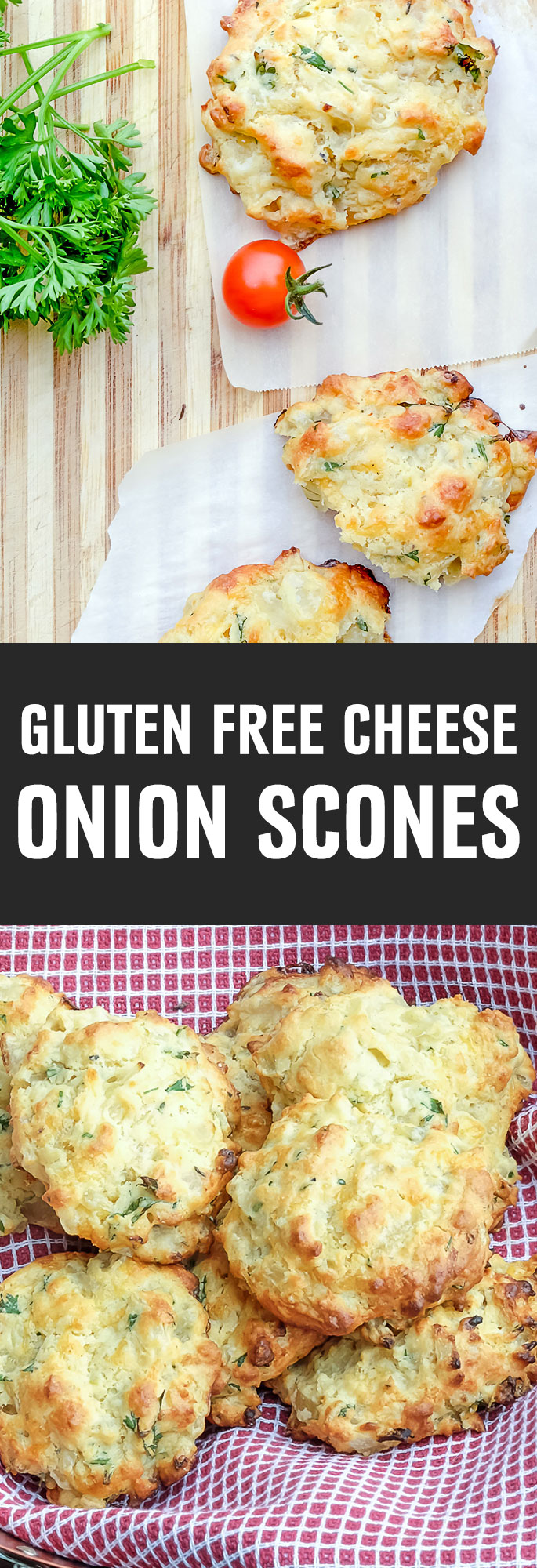 There is something appealing about cheese nestled in a perfectly crisp pastry gently flavored with onions and herbs. With only minutes of prep time, these scones are made in a jiffy. Shared via http://www.gluteninsight.com