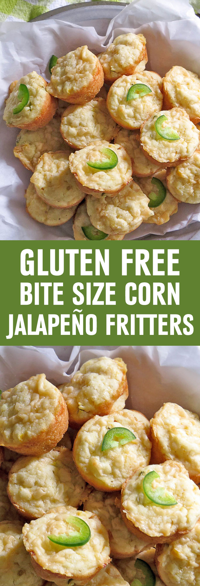 Spiked with minced jalapeno pepper and grated Parmesan cheese, these Gluten Free bite size fritters make the perfect side with a bowl of chili or soup in cooler weather.  Shared via http://www.gluteninsight.com