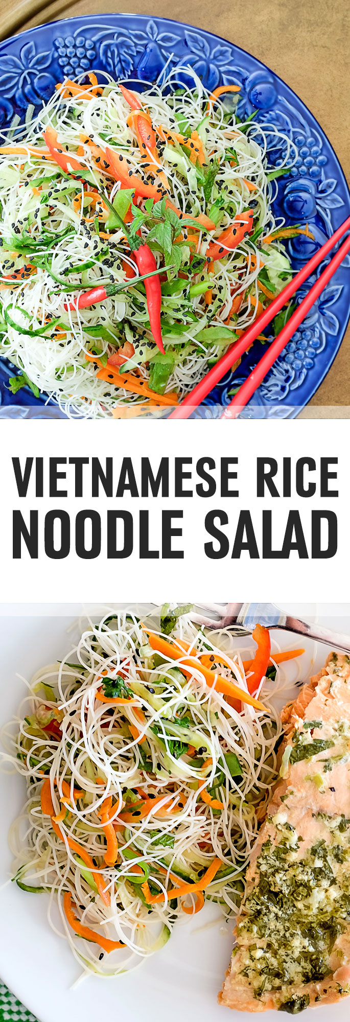 This noodle salad is marinated in Vietnamese dressing making it light, low in calories and low in fat. There are many ways you can serve this salad, such as a starter, small bite or as a side with chicken or fish. This salad is especially refreshing in hot summer months. Shared via http://www.gluteninsight.com