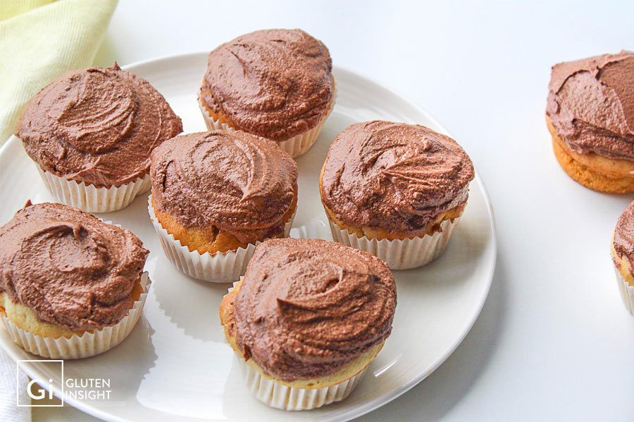 Gluten Free Vanilla Cupcakes with Chocolate Buttercream Frosting